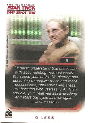 Odo offers his thoughts on card collecting