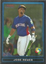 Jose Reyes is shown as a member of the Dominican Republic team on this 2009 Bowman Chrome baseball card.