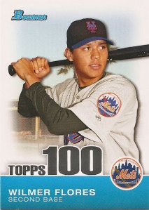 Wilmer Flores Topps 100 insert card from the 2010 Bowman baseball card set