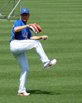 Hisanori Takahashi does some pregame throwing at Citi Field in 2010 (Photo credit: Paul Hadsall)
