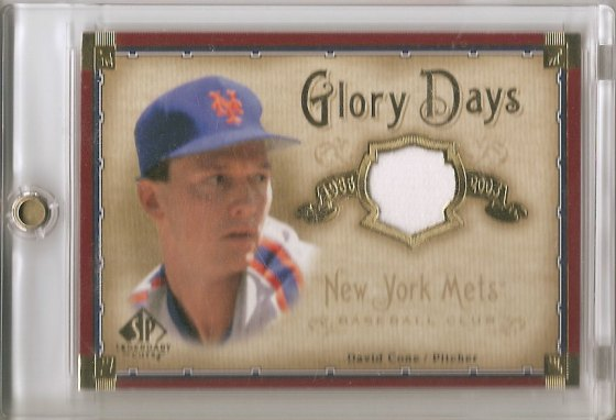 "David Cone's 2005 Upper Deck SP Legendary Cuts ""Glory Days"" Material baseball card #DC"