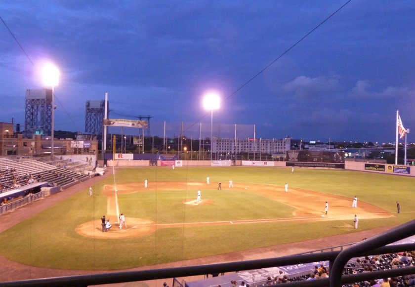 A night game at Bears & Eagles Riverfront Stadium {Photo credit: Paul Hadsall)