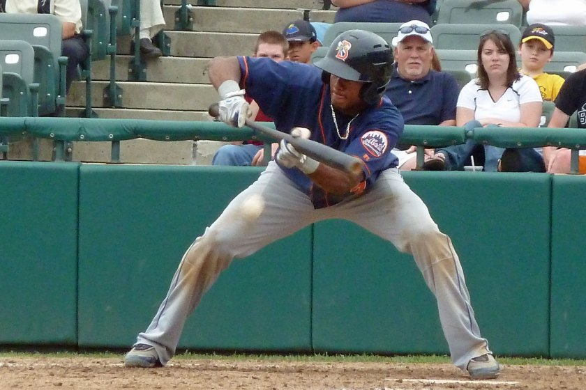 Jordany Valdespin lays down a sacrifice bunt as a member of the minor league Binghamton Mets in 2011. He's a minor leaguer again after the Miami Marlins removed him from their 40-man roster this weekend. (Photo credit: Paul Hadsall)