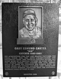 Gary Carter's plaque in the Mets Hall of Fame