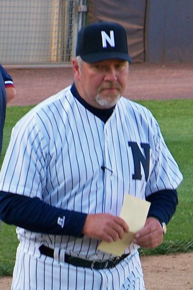 Former Newark Bears manager Ken Oberkfell carries the lineup card back to the dugout in this 2012 photo. (Photo credit: Paul Hadsall)