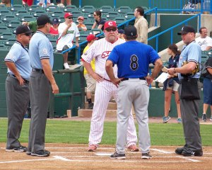 Camden coach Ron Karkovice and Sugarland manager Gary Gaetti participate in the pre-game lineup exchange