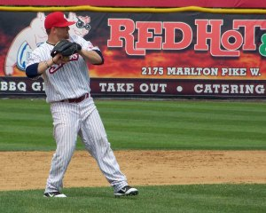 Former Newark Bears infielder Paddy Matera started at shortstop for the Riversharks and made several nice plays in the field