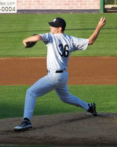 Mike Ness pitches for the Newark Bears on Opening Day (Photo credit: Paul Hadsall)