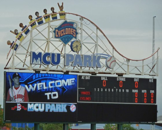 The scoreboard at MCU Park