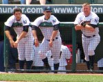 Some Trenton Thunder players watch a game from the dugout in 2012 (Photo credit: Paul Hadsall)