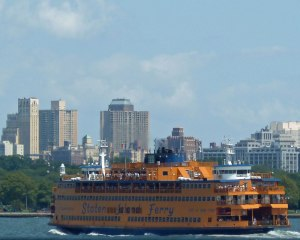 A Staten Island ferry returns to Manhattan