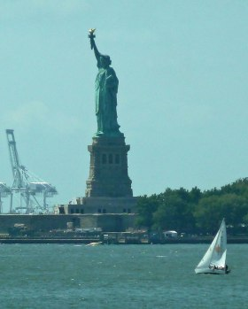 The Statue of Liberty, seen from Whitehall Terminal in Manhattan