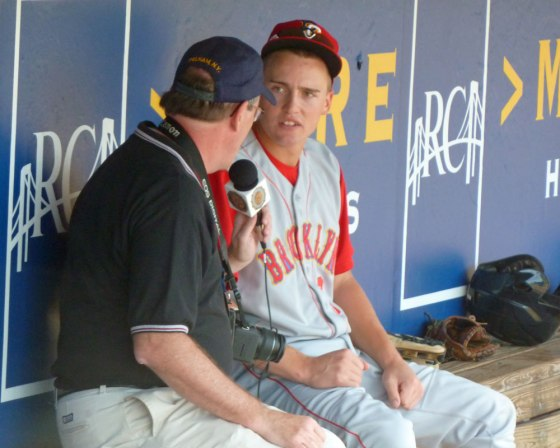 Brandon Nimmo gets interviewed before a Brooklyn Cyclones game in 2012 (Photo credit: Paul Hadsall)
