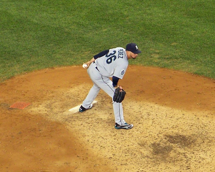 Oliver Perez pitches against the New York Yankees at Yankee Stadium in August 2012 (Photo credit: Paul Hadsall)