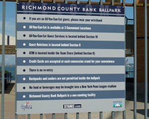 Rules of Richmond County Bank Park