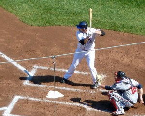 Lucas Duda hits against the Braves during a 2010 game at Citi Field (Photo credit: Paul Hadsall)