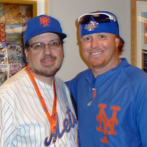 Justin Turner poses for a photo with me during a Mets Social Media Day event in 2012.