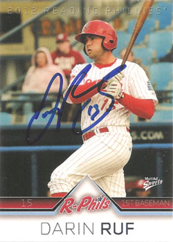 Autographed Darin Ruf 2012 Reading Phillies card from my collection
