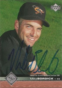 Signed Mike Bordick 1997 Upper Deck baseball card from my collection