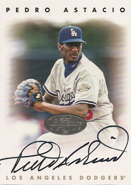 Pedro Astacio's 1996 Leaf Signature Series signed baseball card from my collection