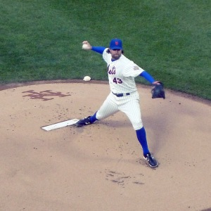 R.A. Dickey pitches at Citi Field in May 2012 (Photo credit: Paul Hadsall)