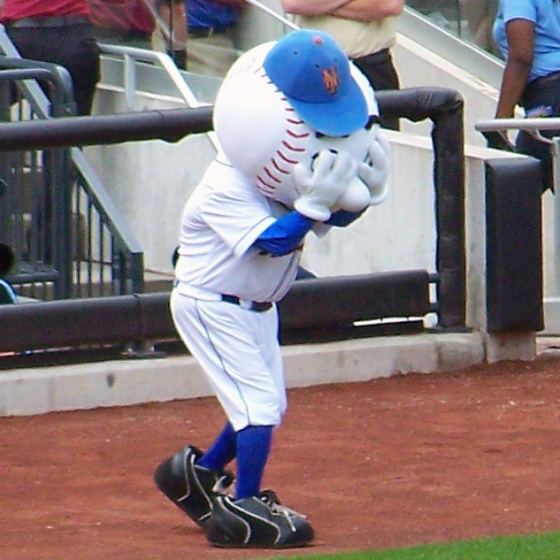 Mr. Met can't bear to watch