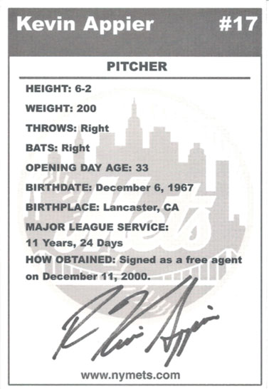 The back of the Kevin Appier Mets postcard