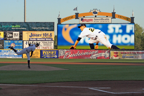 A rendering of the Trenton Thunder's new right field video board that will be installed in time for the 2013 season. (Image courtesy of the Trenton Thunder)