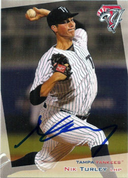 Autographed Nik Turley 2012 Tampa Yankees baseball card from my collection