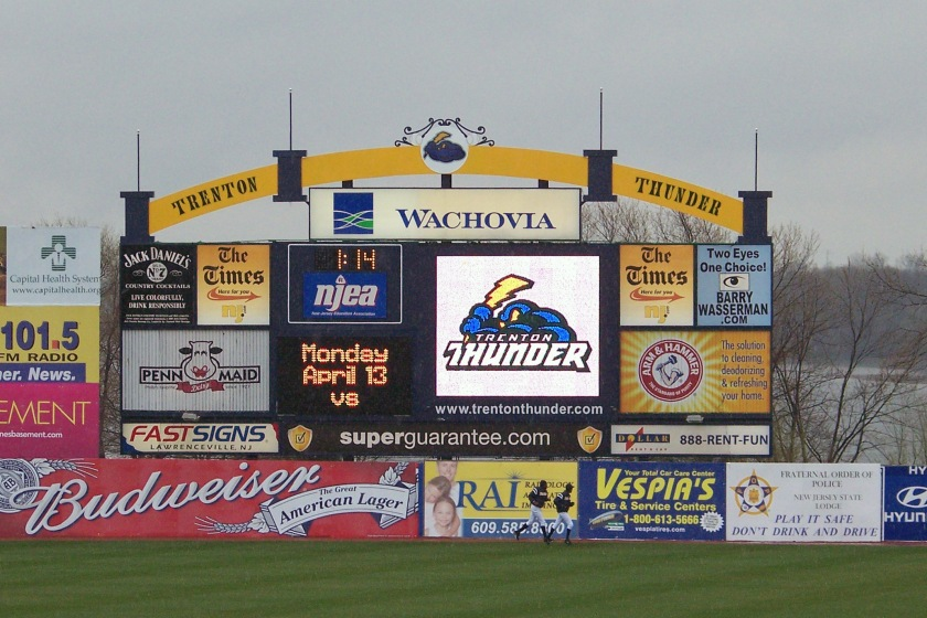 The right field video board at Waterfront Park in a photo from 2009. (Photo credit: Paul Hadsall)