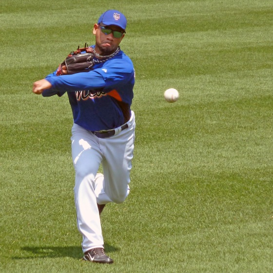 Pedro Feliciano gets some work in before a game in 2010 (Photo credit: Paul Hadsall)