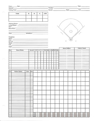 Baseball scorecards – Baseball Scoresheet