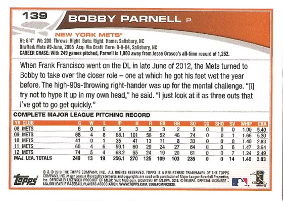 The back of Bobby Parnell's 2013 Topps baseball card