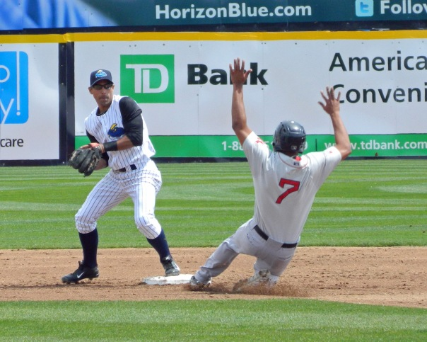 Boston Red Sox prospect Xander Bogaerts is out at second base on the front end of a double play (Photo credit: Paul Hadsall)