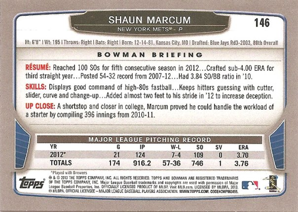 The back of Shaun Marcum's 2013 Bowman baseball card