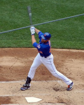 Ike Davis flails at a pitch on Saturday (Photo credit: Paul Hadsall)