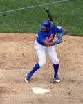 Mets' leadoff hitter de jour, seen here in a photo from Saturday's game, had two of the team's five hits Tuesday night. (Photo credit: Paul Hadsall)