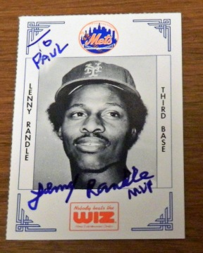 Lenny Randle signed 1991 Wiz Mets card from my collection