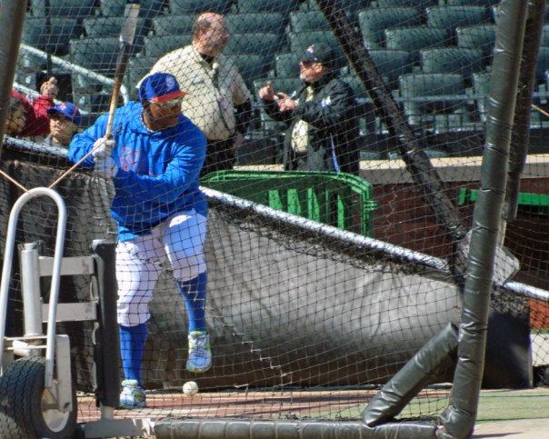 Marlon Byrd takes batting practice at Citi Field before a game earlier this year (Photo credit: Paul Hadsall)