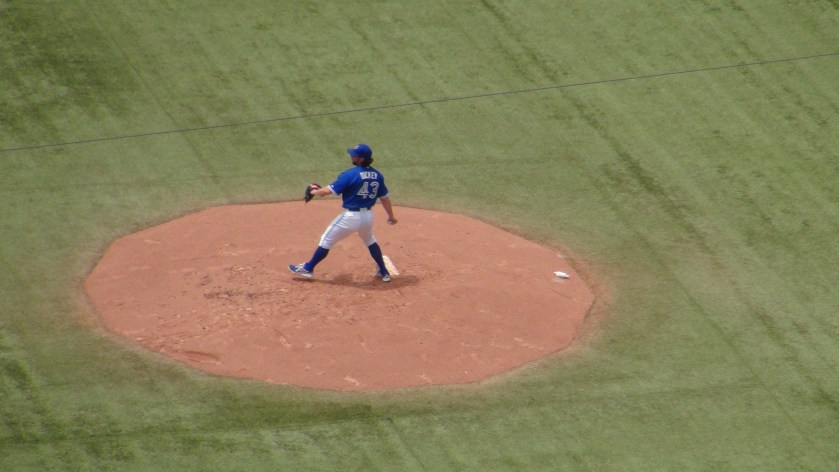 R.A. Dickey pitches at the Rogers Centre on July 6, 2013 (Photo credit: Vinny Haynes)