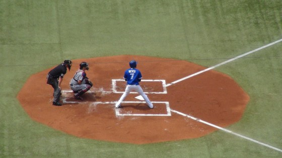 Jose Reyes bats at the Rogers Centre on July 6, 2013 (Photo credit: Vinny Haynes)