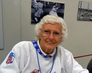 Former All-American Girls Professional Baseball League player Shirley Burkovich at FanFest