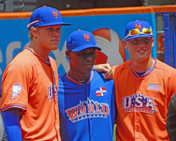 New York Mets prospects Noah Syndergaard, Rafael Montero and Brandon Nimmo at the 2013 All-Star Futures Game at Citi Field (Photo credit: Paul Hadsall)