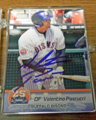 An autographed Valentino Pascucci baseball card