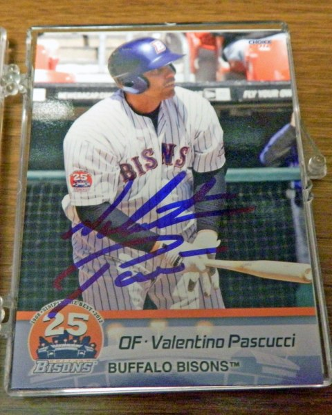 Autographed Valentino Pascucci 2013 Buffalo Bisons baseball card from my collection