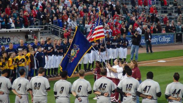The color guard during the pre-game ceremony (Photo credit: Vinny Haynes)