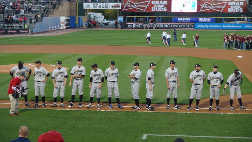 The Omaha Stormchasers line up during pre-game introductions (Photo credit: Vinny Haynes)