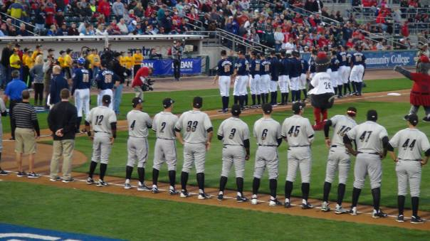 Players line up for the National Anthem (Photo credit: Vinny Haynes)