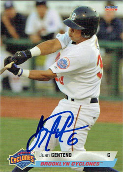 Autographed Juan Centeno 2009 Brooklyn Cyclones team set baseball card (from my collection)