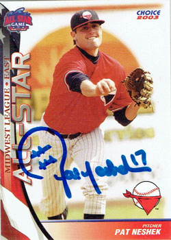 Signed Pat Neshek 2003 Midwest League All-Star baseball card from my collection